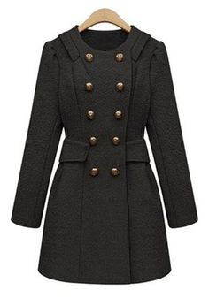 ++ Black Buttond Double Breasted Wool Coat