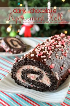 Dark Chocolate Peppermint Roll - this holiday dessert is a real show-stopper! Moist chocolate cake, perfect peppermint buttercream, and a delicious chocolate glaze!