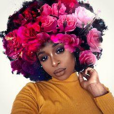 Natural Hair Art, Natural Hair Styles, Flowers In Hair, Flower Hair, Flower Crown, Black Kids, Black Child, Chocolate City, Poetry Art