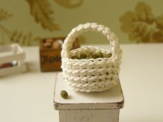 Dollhouse miniature basket crochet basket 1 12 by DewdropMinis Dollhouse Accessories, Vintage Dolls, Dollhouse Miniatures, Baskets, Crochet, Pink, Handmade, Etsy, Hand Made