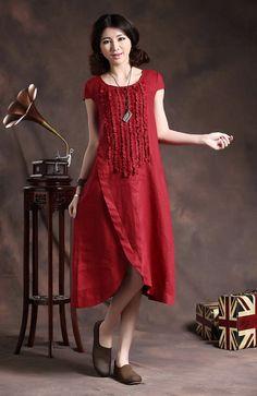Ruffle Linen Dress in Red / Long linen sundress /Asymmetrical Red Kaftan / Maxi…