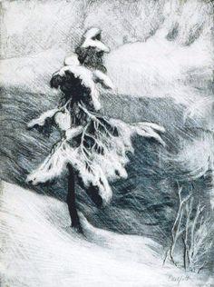 Albert Edelfelt: Talvimaisema Imatralta, grafiikanlehti, 1905. Doodle Drawings, Doodle Art, Children's Book Illustration, Vincent Van Gogh, Helsinki, Chinese Art, Japanese Art, Line Art, Artworks