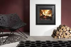Wood-burning heating stove / built-in / contemporary UNIQ 23 Westfire ApS Inset Log Burners, Inset Stoves, Wood Stoves, Contemporary Wood Burning Stoves, Wood Burning Fireplace Inserts, Wood Fireplace, Modern Fireplace, Fireplace Ideas, Electric Stove