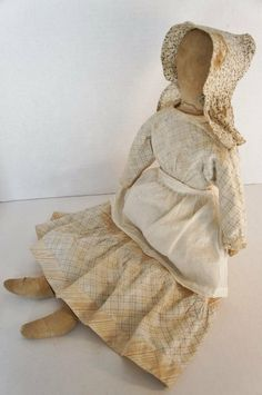 """23"""" Very Early Cloth Doll, 1870-1880, Country & Shaker Antiques,"""