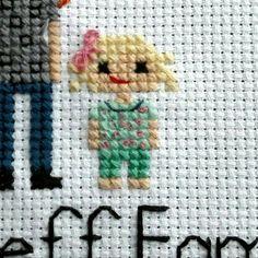 Additional Child | Cross Stitch Family Portrait | Stitch People | Second 2nd Cotton Anniversary | Engagement | Present | Valentine's Day |