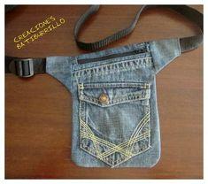Faltriquera o riñonera de vaquero reciclado Jean Crafts, Denim Crafts, Denim Purse, Belt Purse, Denim Ideas, Old Jeans, Hip Bag, Diy Clothing, Cowboy Crafts