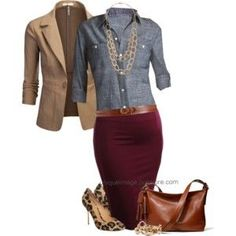 denim, burgundy, and leopard