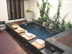 Ideas for small backyard patios are endless! Don't be discouraged if your backyard is tiny and you think it cannot … Small Swimming Pools, Backyard Pool Designs, Small Backyard Landscaping, Small Pools, Swimming Pool Designs, Backyard Patio, Backyard Ideas, Patio Ideas, Small Indoor Pool