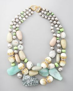 Great mix of materials-Triple-Strand Necklace by Alexis Bittar at Bergdorf Goodman.