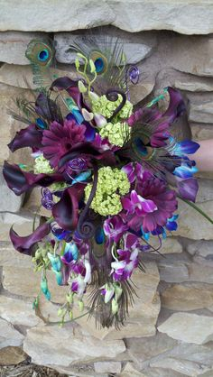 peacock themed wedding bouquet ~ whimsical teardrop