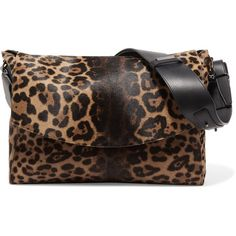 Victoria Beckham Leopard-print calf hair and leather shoulder bag ($1,180) ❤ liked on Polyvore featuring bags, handbags, shoulder bags, animal print, leopard haircalf handbag, leopard shoulder bag, leopard handbag, shoulder hand bags and genuine leather purse