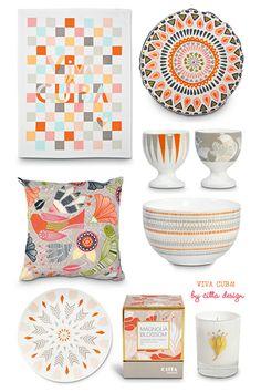 ッ Loving this cheerful color palette in the new Cuban-inspired summer Home Collection by Citta Design.