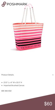 🆕[victoria's secret] beach bag • style name: beach bag • color: multi stripes (pink/orange/natural/black) • limited edition item • large tote style premium quality beach bag • see above for details from company website • condition: new in online packaging, never used ____________________________________________________ ✅ make an offer!     ✅ i bundle! ✅ posh compliant closet ⛔️ no trades Victoria's Secret Bags Totes