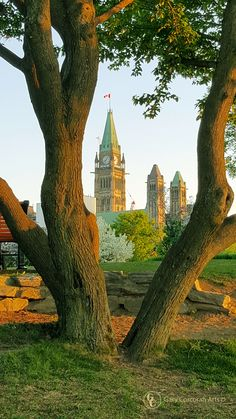 """""""Capital growth"""" - I took this mobile phone photo of Parliament Hill from Majors Hill park, Ottawa, ON, CAN. Framing the peace tower in among the parks many beautiful trees was fun to photograph. You can see the people boarding beside the boat. https://twitter.com/garycorcoranart 2016 Gary Corcoran Arts"""