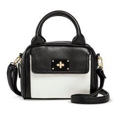 Women's Color Block Satchel Handbag with Turnlock Pocket - Black/White