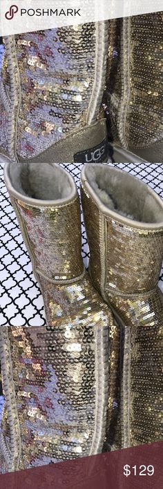 ☃️Ladies Sz 5 Gold sequin fit like a 6 short Uggs Great condition! Size 5 short UGGs fit like 6. Uggs run big.  Purchased at Nordstrom. Gold sequin UGG Shoes Winter & Rain Boots