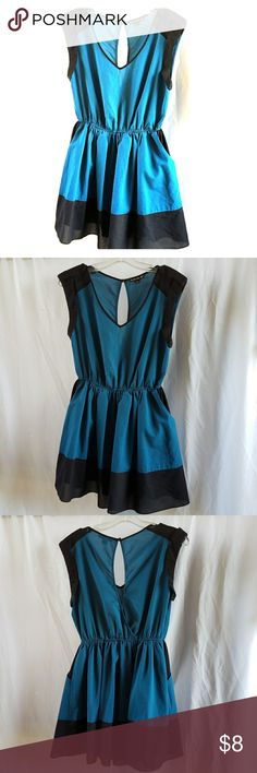 Turquoise and Black Dress Cute v neck dress, comes down to mid thigh... great dress for spring. Dresses Mini