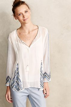 Aiguille Embellished Peasant Top - anthropologie.com