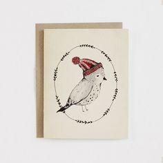 Weihnachten Vogel / Mütze Karte 1 pc von KelliMurrayArt auf Etsy