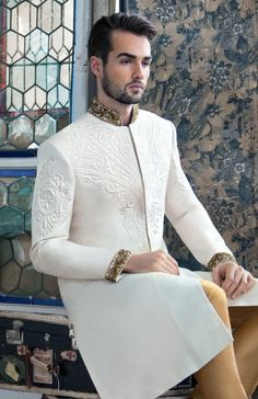 Plain white summer sherwani