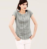 Pleated Lace Front Cotton Tee