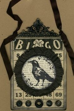 bingo card art: black crow, fiber, brads or buttons, fillet header Halloween Bingo, Halloween Banner, Halloween Yard Decorations, Halloween Themes, Fall Halloween, Halloween Countdown, Happy Halloween, Vintage Halloween Crafts, Collages