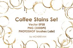 Coffee stains clipart and brush set by mcherevan on Creative Market