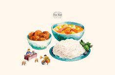 Food Sketch, Food Painting, Vietnamese Recipes, Vietnamese Food, Food Drawing, Food Illustrations, Hanoi, Cute Food, Food Design