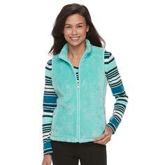 Croft & Barrow® Petite Fleece Vest, Women's, Size: Xl Petite, Turquoise/Blue (Turq/Aqua)