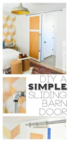 DIY Simple Sliding Barn Door @ Vintage Revivals CHEAPEST way I've seen to find the hardware yourself at the depot or lowes.