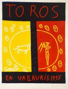 Pablo Picasso Linocut, Toros en Vallauris (Bulls in Vallauris),1955