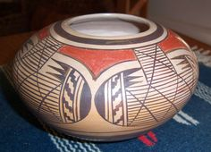 "Elva Nampeyo Hopi Jar Bowl Pot Native American Indian Signed Polychrome -3.5""X6"