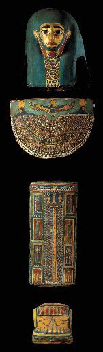 AN EGYPTIAN PAINTED AND GILT CARTONNAGE ENSEMBLE LATE PTOLEMAIC TO EARLY ROMAN PERIOD, CIRCA 1ST CENTURY B.C.-1ST CENTURY A.D.
