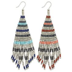 "Beaded fringe earrings in either red or blue featuring 2 tone stripes. Measurements (approx.): 4 1/4"" x 1 1/4"" Materials: Silver metal, glass beads Colors: Blue"