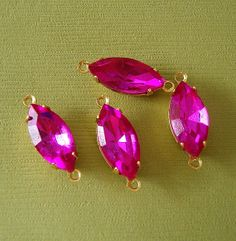 4pcs  Vintage Glass Faceted Navette Stones in 2 Rings by anchar, $3.99