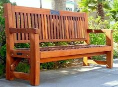 Commercial grade Redwood Memorial Bench. This outdoor bench is built with extra thick timber to make it heavy and durable.  Purchases support old growth forestry restoration projects. Engraving option available for special memorial messages.