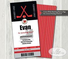 Hockey Ticket Invitations   Hockey Birthday, Sports Birthday, Tickets, Hockey Puck, Skates, Hockey Party, Sports Party   Print At Home PDF on Etsy, $16.88 CAD