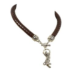 BARRY KIESELSTEIN CORD Sterling Silver Tiger Cub Cat Leather Necklace | From a unique collection of vintage choker necklaces at https://www.1stdibs.com/jewelry/necklaces/choker-necklaces/
