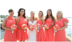 coral and orange wedding Wedding Wishes, Wedding Dreams, Wedding Things, Wedding Stuff, Dream Wedding, Orange Wedding, Summer Wedding, Hot Pink Weddings, Bridal Parties
