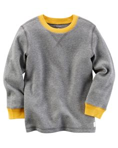 This boys' Carter's thermal tee features a contrast color neckline and cuffs that elevate his simple style. Baby Boy Tops, Carters Baby Boys, Toddler Boys, Kids Boys, Teen Boys, Toddler Outfits, Kids Outfits, Carters Clothing, Boys Closet