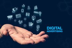 Digital Advertising blue word glowing icon floating over open hand on dark blue background,online payment,Digital marketing concept. Native Advertising, Mobile Advertising, Video Advertising, Mobile Marketing, Social Media Marketing, Digital Marketing, Research Report, Market Research, Blue Words