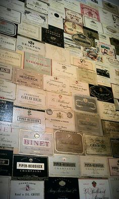 A wall of champagne labels
