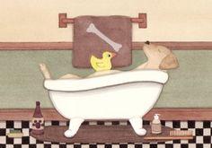 Golden Yellow Labrador (lab) fills tub at bath time / Lynch signed folk art print