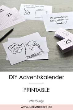DIY Freebie - Advent calendar back pages for self-printing. Here are 12 suggestions and ideas for your personal messages. More printables are available www.lucky-me-caro. Diy Christmas Gifts, Simple Christmas, Christmas Time, Birthday Gifts For Kids, Diy Birthday, Winter Girl, Advent Calenders, Diy And Crafts, Diys