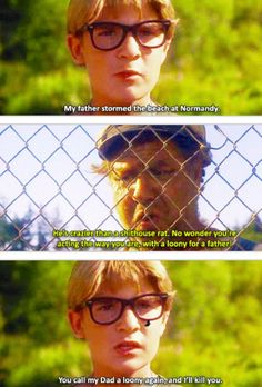 """""""You call my Dad a loony again, and i'll kill you"""" -Stand by me 90s Movies, Good Movies, Movie Tv, Awesome Movies, King Kong, Movies Showing, Movies And Tv Shows, Os Goonies, Corey Feldman"""