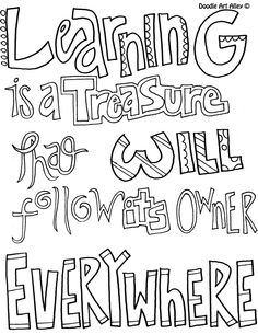 Free Printable Education Quotes Coloring Pages From Doodle Art Alley