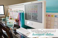 simply organized: Organized Homework Station