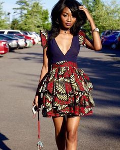 Items similar to African Print Plunge Neckline Dress- Ankara Flare Short Dress- Ankara Print - African Dress - Handmade - Africa Clothing - African Fashion on Etsy - Trend Fitness Aesthetic 2020 Ankara Dress Styles, African Print Dresses, African Fashion Dresses, Ankara Skirt, African Prints, Kente Styles, Ghanaian Fashion, African Skirt, Short African Dresses