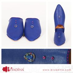 Stunning #Royal Blue #MoroccanSlippers decorated with beads <3 #Biyadina