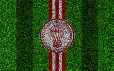 Download wallpapers CA Huracan, 4k, football lawn, logo, Argentinian football club, grass texture, red white lines, Superliga, Buenos Aires, Argentina, football, Argentine Primera Division, Superleague, Huracan FC